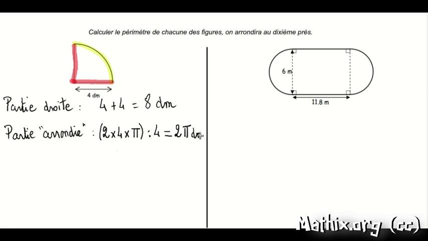 Exercice trait pour les 6emes calculer un p rim tre for Piscine 6eme